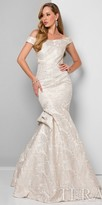 Terani Couture Off the Shoulder Ruffle Draped Trumpet Gown