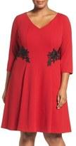 London Times Lace Trim Fit & Flare Dress (Plus Size)