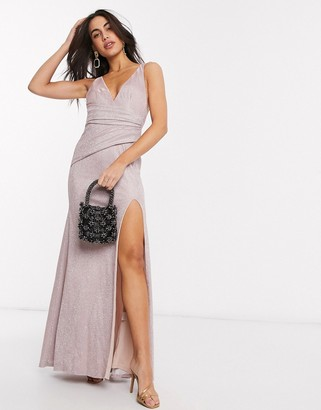 Goddiva Goddvia v neck side split maxi dress in pink
