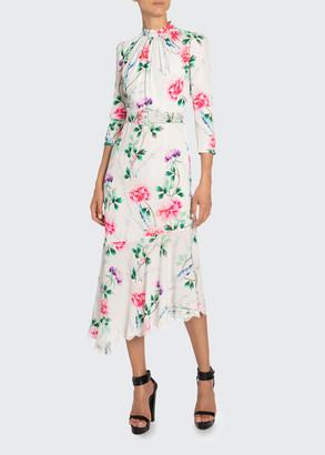Andrew Gn Floral-Print Mock-Neck Asymmetric Dress