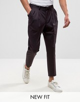Asos Tapered Cropped Smart Pants With Pleats In Purple