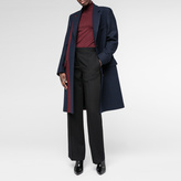 Paul Smith Women's Navy Dogtooth Wool Epsom Coat With Stripe