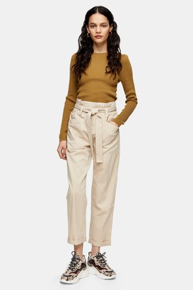 Topshop Stone Paperbag Waist Tapered Pants