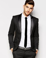Selected Tuxedo Jacket in Woven Jacquard in Skinny Fit