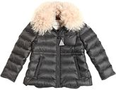 Moncler Abelia Nylon Down Jacket W/ Fur Collar