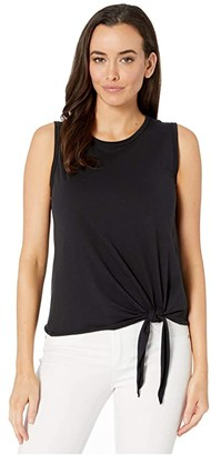 Lilla P Tie Front Tank in Pima Jersey (Black) Women's Clothing