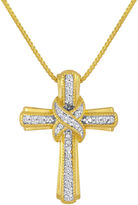 Silver Cross FINE JEWELRY 1/10 CT. T.W. Diamond 14K Yellow Gold Over Sterling Pendant Necklace