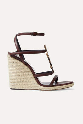 Saint Laurent Logo-embellished Leather Espadrille Wedge Sandals - Brown