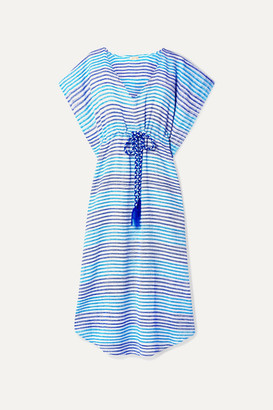 Jaline - Camila Gathered Striped Cotton Kaftan - Sky blue
