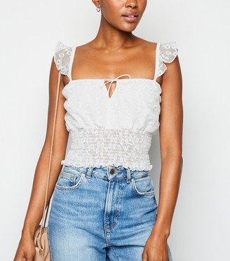 New Look Floral Lace Shirred Crop Top