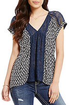 Miss Me Printed Mesh Inset High-Low Blouse