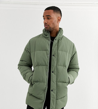 Asos DESIGN Tall sustainable puffer jacket in khaki with funnel neck