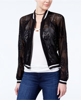 Amy Byer Juniors' Lace Bomber Jacket