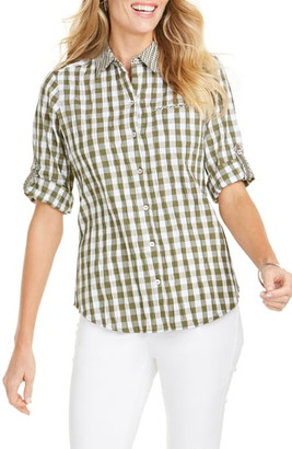 Foxcroft Reese Crinkle Gingham Shirt