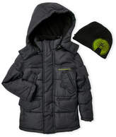 Weatherproof Boys 4-7) Two-Piece Hooded Puffer Jacket & Beanie Set