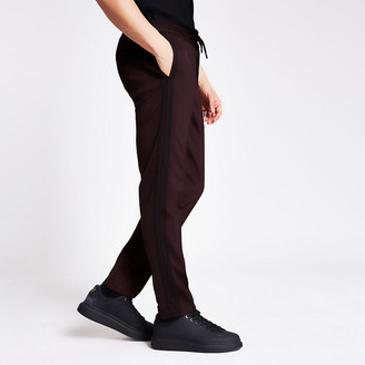River Island Dark red side tape skinny fit smart joggers