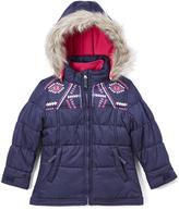 London Fog Navy Removable-Lining Puffer Coat - Girls
