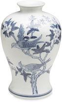 AA Importing 13 Ceramic Bird Vase, Blue/White