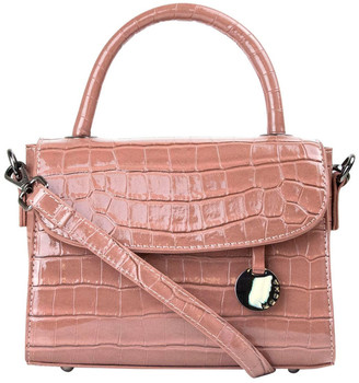Mocha Jodie Croc Embossed Top-Handle Crossbody - Mauve