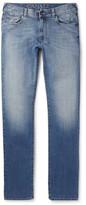 Canali Slim-fit Washed Stretch-denim Jeans