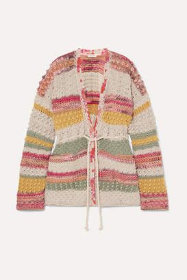 Etro Silk Georgette-trimmed Striped Cotton And Linen-blend Cardigan - Beige