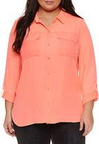 Boutique + + 3/4 Sleeve Button-Front Shirt-Plus
