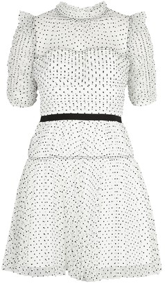Self-Portrait White polka-dot tulle mini dress