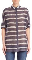 Lafayette 148 New York Striped Cotton & Silk Blouse