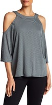 Bailey 44 Crew Neck 3/4 Sleeve Cold Shoulder Shirt