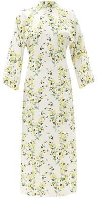 BERNADETTE Miranda V-back Floral-print Crepe Dress - Ivory Multi
