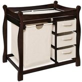 Badger Basket Sleigh Style Espresso Changing Table with Hamper and Baskets