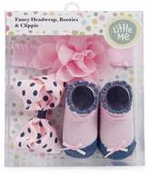 Little Me Baby Girl's Three-Piece Fancy Floral Headwrap, Polka Dots Clippie and Booties Set