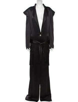 Balmain V-Neck Long Dress Black