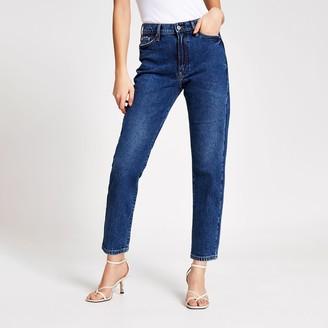 River Island Womens Dark Blue Blair high rise straight jeans