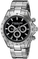 Stuhrling Original Men's Quartz Watch with Black Dial Analogue Display and Silver Stainless Steel Bracelet 564.02