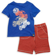 Charlie Rocket Baby Boys Monster Truck Tee and Shorts