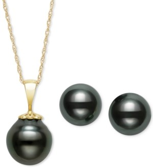 Belle de Mer Tahitian Black Pearl (9mm) Pendant Necklace & Matching Stud Earrings in 14k Gold