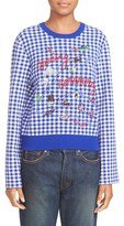 Opening Ceremony Women's Embroidered Map Gingham Sweater