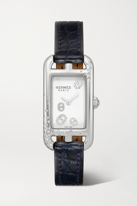HERMÈS TIMEPIECES Nantucket 17mm Very Small Stainless Steel, Alligator And Diamond Watch - Navy
