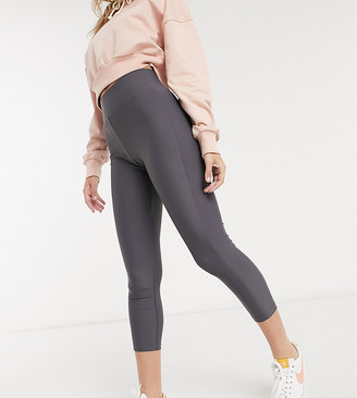 ASOS DESIGN Petite deep waistband legging in matte disco in blue grey