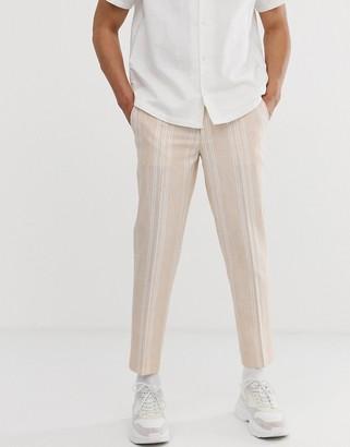 ASOS DESIGN skinny crop smart trousers in orange with white stripe in linen