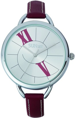 Sunset2615Ladies WatchSilver Dial Red Leather Strap