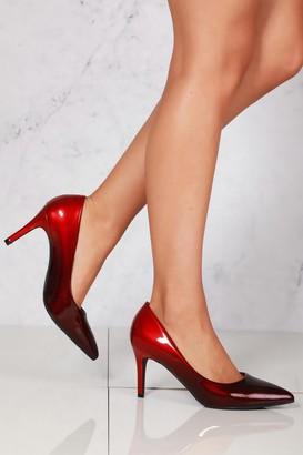 Miss Diva Alani 2 tone medium heel court shoe in Black