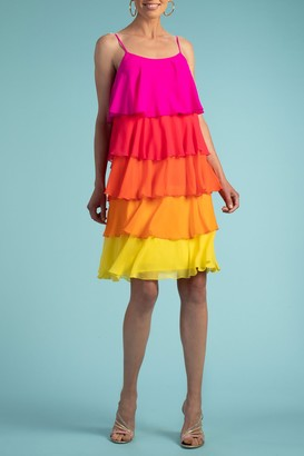 Trina Turk Sunshine Tiered Colorblock Silk Dress