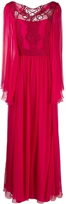 Alberta Ferretti Embroidered Flared Gown