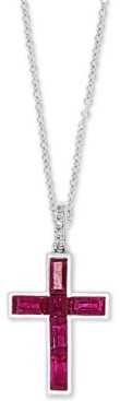 """Effy Certified Ruby (3/4 ct. t.w.) & Diamond Accent Cross 18"""" Pendant Necklace in 14k White Gold"""