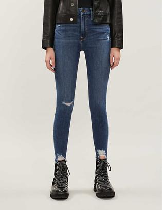 Good American Good Waist chewed-hem stretch-denim jeans