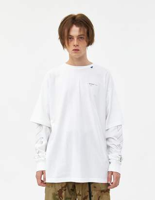 Off-White Off White L/S Diagonal Unfinished Double Sleeve Tee