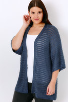 Yours Clothing Blue Kimono Cardigan With Crochet Stripe Detail