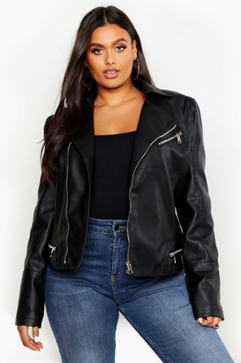 boohoo Plus Leather Look Zip Detail Biker Jacket